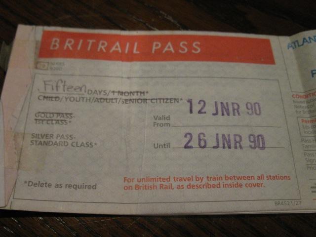Britrail Pass 1990