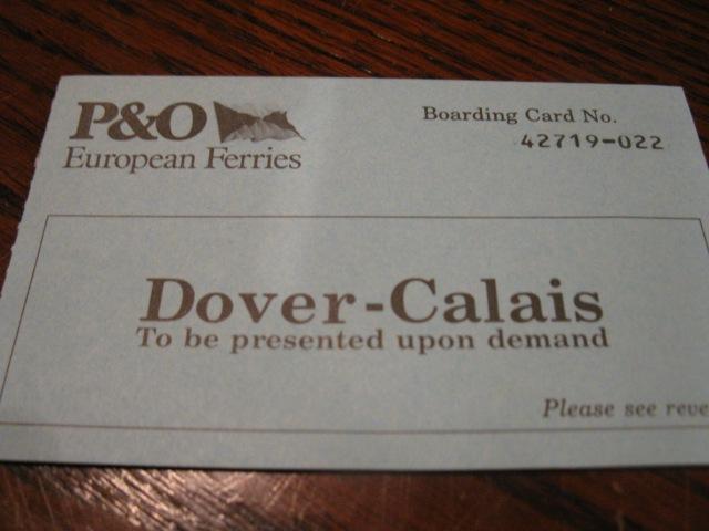 Calais Dover Boarding Pass 1990