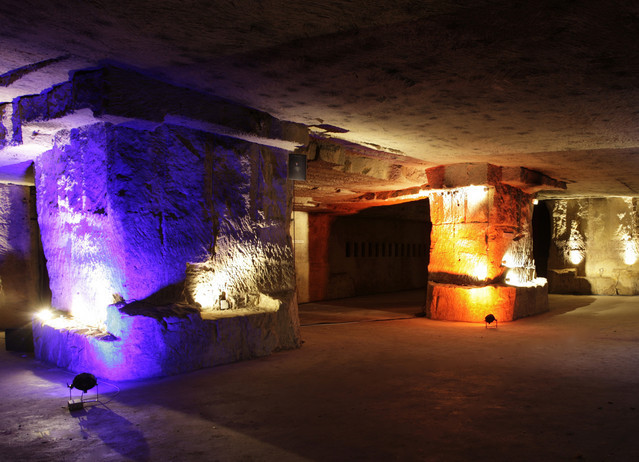 Cave cellars of Chateau Villemaurine on a quiet night