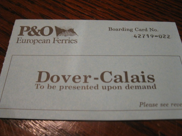 Calais Dover Boarding Pass - 25 January 1990